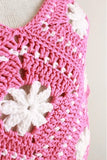 pink and white poncho