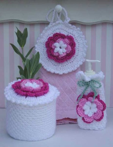 rose radiance bath set toilet paper topper soap dispenser cover towel topper