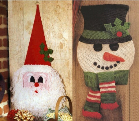 Old St. Nick and Frosty Fella Wall Hangings Crochet Pattern - Maggie's Crochet