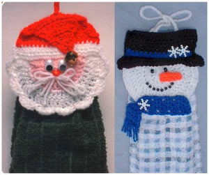 Santa and Snowman Towel Toppers Crochet Pattern - Maggie's Crochet