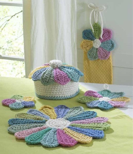scrap fan kitchen set crochet pattern casserole cover potholder placemat coaster towel topper