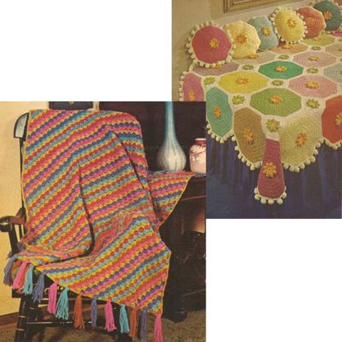 scrap retro afghan with pom-pom border
