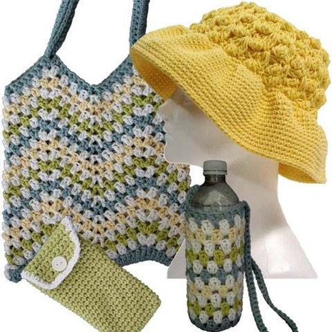 seaside collection crochet pattern tote hat sunglasses case water bottle holder headband