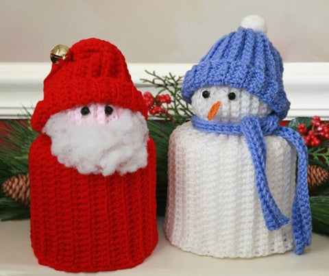 santa and snowman with blue hat toilet paper topper
