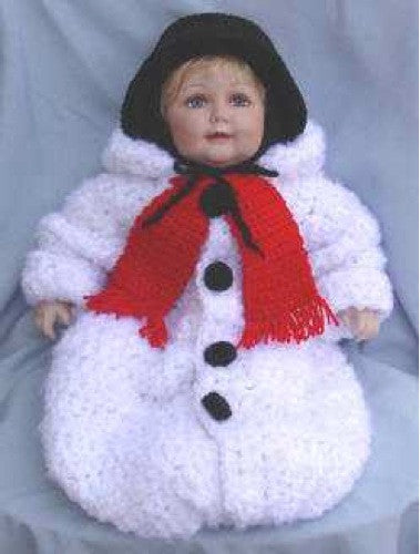 snowman baby bunting crochet pattern white red and black