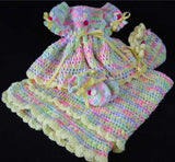 baby dress bonnet booties blanket