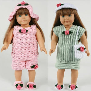 summer outings outfits for 18 inch dolls pink and green