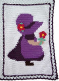 sunbonnet sue pattern white and purple