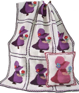 sunbonnet sue afghan and pillow white and purple
