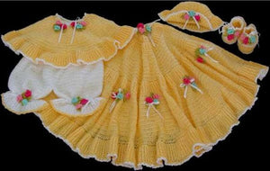 sunshine yellow layette pattern afghan poncho bloomers hat booties roses