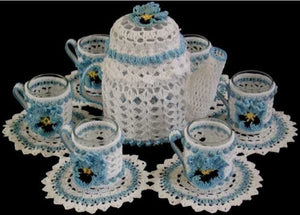 tea time candle doily set -white and blue
