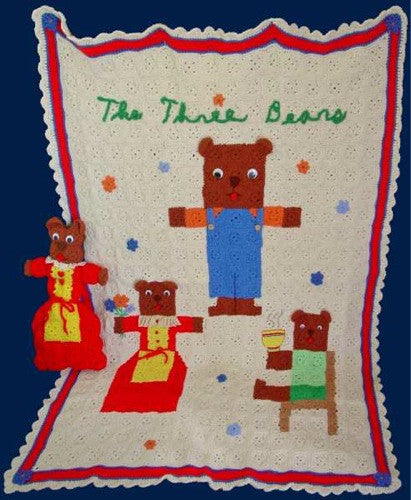 three bears folk art afghan and pillow