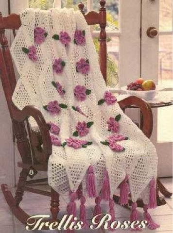 white and pink trellis rose afghan crochet pattern