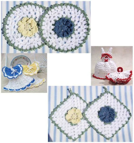 vintage crochet dishcloths and potholders