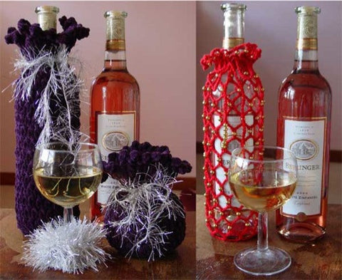 crochet wine gift set