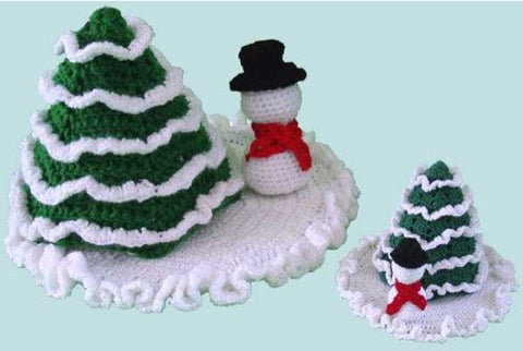 winter wonderland crochet set christmas tree snowman