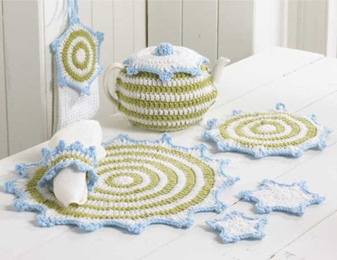 wintery kitchen set crochet napkin ring place mats doilie tea pot holder