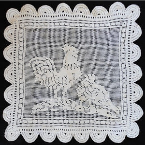 vintage crochet rooster and hen crochet