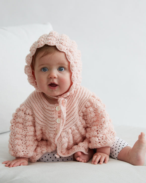 Baby Puff Stitch Sweater and Hat