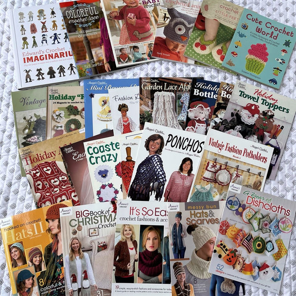 Lot Of 25 Crochet Books - Annie's Attic, Maggie's Crochet, many out of print