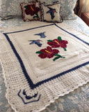 Hummers and Hibiscus Afghan and Pillows Crochet Pattern - Maggie's Crochet