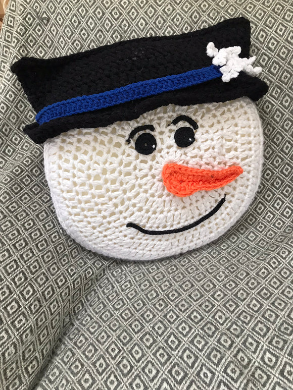 Crochet Pattern Beginner Project Easy Snowman Pillow - Maggie's Crochet