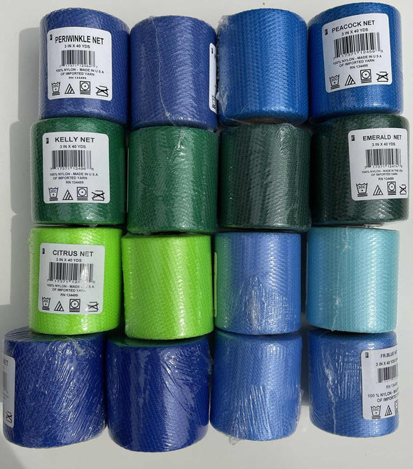 #1 Lot of 16 Nylon Netting Spools Blues & Greens 3 inches wide by 40 yards long