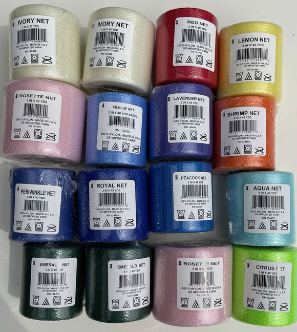 #3 Lot of 16 Nylon Netting Spools Assorted Colors 3 inches wide by 40 yards long