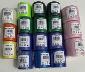 #5 Lot of 18 Nylon Netting Spools Assorted Colors 3 inches wide by 40 yards long