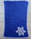 blue and white snowflake placemat