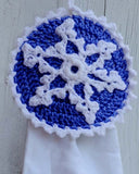 blue and white snowflake towel topper