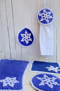 blue and white snowflake kitchen set hot pad potholder towel topper placemat dish cloth