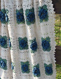 blue and white rose afghan up close