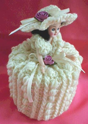 girl with white dress, roses, and ribbons TP topper crochet