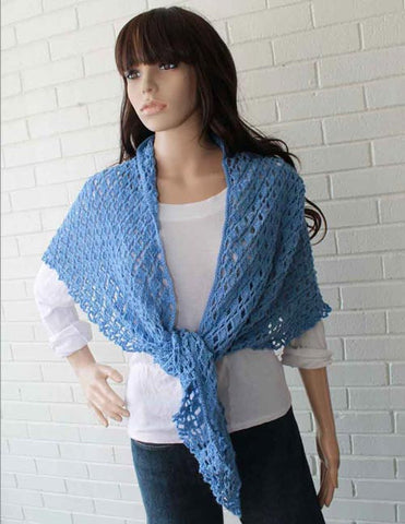 blue crochet shawl front