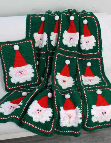 green santa afghan and pillow set