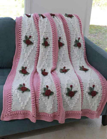 vintage crochet diamond rose afghan