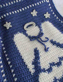 Blue and white angel afghan