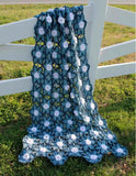 starlit floral afghan blue and white