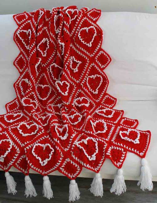 ruffled hearts afghan