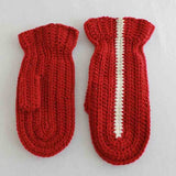 red mittens with white stripe