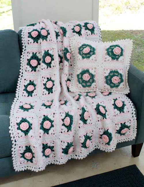 Pearly Blossoms Afghan and Pillow Crochet Pattern - Maggie's Crochet