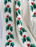 Festive Holly Afghan Close up
