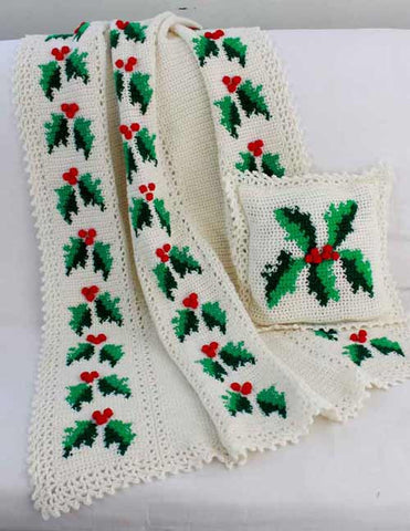 Festive Hollies Afghan and Pillow Pattern - Maggie's Crochet