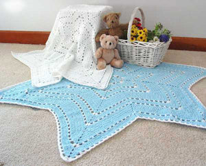snowflake ripple baby afghan light blue and white