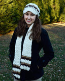 blue newsboy hat and scarf