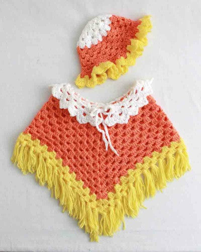 Candy Corn Poncho and Hat Set Crochet Pattern - Maggie's Crochet