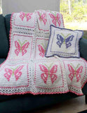 Pink and purple butterfly afghan and pillow