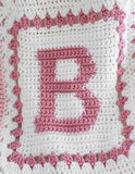 Pink and white B from alphabet afghan