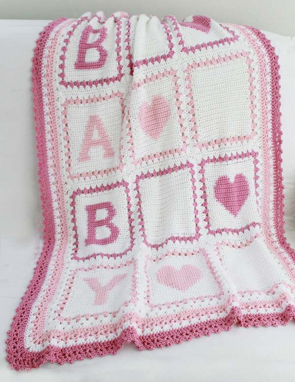Pink Baby Alphabet Blocks Afghan